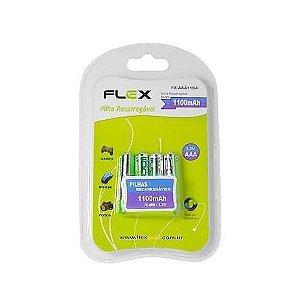 PILHA RECARREGAVEL FLEX C/ 4 AAA MOD. FX-AAA11LB4
