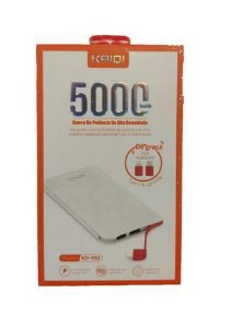 POWER BANK KAIDI FINO 2 ENTRADAS USB E CABO 5000MAH