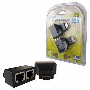 ADAPTADOR EXTENSOR DE HDMI C/ CABO DE REDE ATE 30M