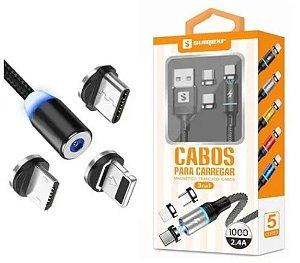 CABO MAGNETICO SUMEXR  3.1A COM 3 PONTAS V8, IPHONE E TIPOC 1M