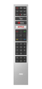 CONTROLE PARA TV LCD SMART AOC YOUTUBE/ NETFLIX PRATA