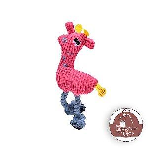 Brinquedo de Pelúcia com Corda Para Cães - GIRAFA ROSA