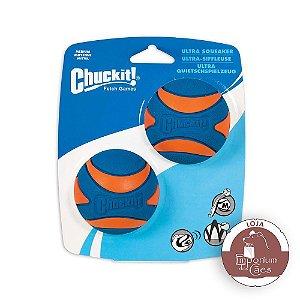 Chuckit! Kit com 2 Bolas de Borracha com Apito - Ultra Squeaker - Tamanho MÉDIO