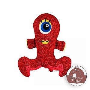 Kong Woozler Red - Alienígena de Pelúcia para Cães - Tamanho MÉDIO