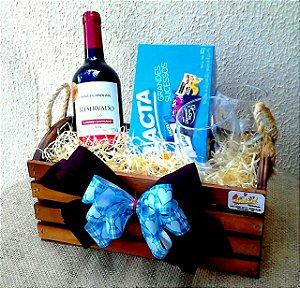Kit vinho e chocolate