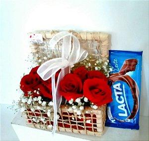 Kit com Rosas e chocolate
