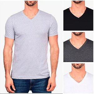 Camiseta Gola V Masculina Básica Cinza Mescla Lisa 100% Algodão