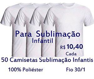 PROMOÇÃO - Pacote com 50 Camisetas Infantis 100% POLIESTER Fio 30/1 BRANCAS - LISAS, SEM ESTAMPA - apenas R$10,40 cada