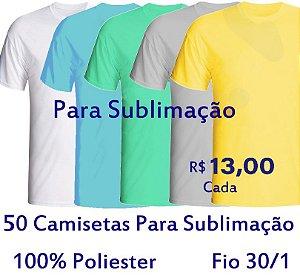 PROMOÇÃO - Pacote com  50 Camisetas COLORIDAS Masculinas 100% POLIÉSTER PARA SUBLIMAÇÃO . R$ 13,00 Cada