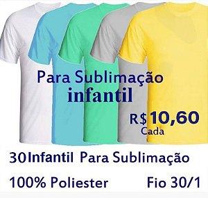 PROMOÇÃO - Pacote com  30 Camisetas COLORIDAS Infantis 100% POLIÉSTER PARA SUBLIMAÇÃO . R$10,60 cada