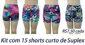 PROMOÇÃO - Pacote com 15 Shorts Curtos - VARIAS ESTAMPAS R$ 7,50 CADA - Tamanhos do P ao GG
