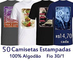 PROMOÇÃO - Pacote com 50 Camisetas estampadas SORTIDAS 100% Algodão fio 30/1 - GOLA REDONDA E GOLA V - apenas R$ 14,70 cada