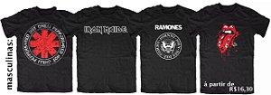 PROMOÇÃO - Pacote com 15 Camisetas de Bandas de Rock 100% Algodão fio 30/1 -  apenas R$ 16,30 cada
