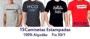 PROMOÇÃO - Pacote com 15 Camisetas de Marcas Famosas 100% Algodão fio 30/1 -  apenas R$ 11,80 cada