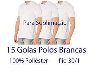 Kit 15 Camisetas Polo 100% Poliéster Fio 30/1 BRANCAS - LISAS  - apenas R$ 12,90 cada