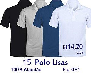 Kit 15 Polos Masculinas 100% Algodão Fio 30/1 CORES SORTIDAS COLORIDAS - LISAS - apenas R$ 14,20 cada