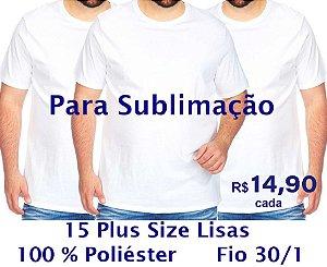 Kit 15 Camisetas Plus Size (XGG) 100% Poliéster Fio 30/1 BRANCAS - LISAS, GOLA REDONDA - apenas R$ 14,90 cada