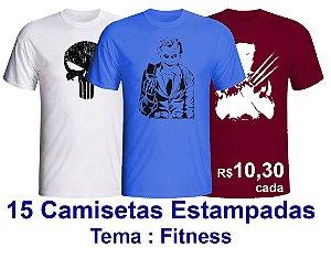 PROMOÇÃO - Pacote com 15 Camisetas de Estampas FITNESS 100% Algodão fio 30/1 -  apenas R$ 10,30 cada