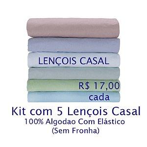 Kit com 5 Lençois de Casal 100% Algodão Fio 30/1 - apenas R$17,00 cada