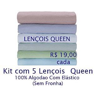 Kit com 5 Lençois Queen 100% Algodão Fio 30/1 - apenas R$19,00 cada
