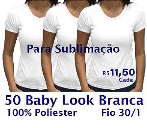 PROMOÇÃO - Pacote com 50 Camisetas Brancas Femininas 100% POLIÉSTER PARA SUBLIMAÇÃO.R$11,50 Cada
