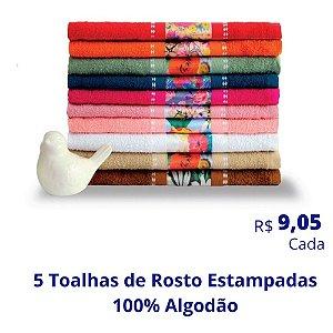 5 Toalhas de Rosto Estampadas (Desenhos e Cores Soritdas) R$ 9,05 Cada