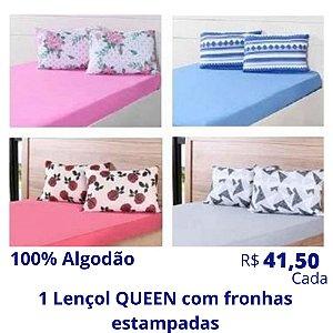 1 Lençol de Casal Queen com Fronhas Estampadas de Algodão (Desenhos e Cores Soritdas) R$ 41,50 Cada