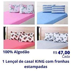 1 Lençol de Casal King com Fronhas Estampadas de Algodão (Desenhos e Cores Soritdas) R$ 47,00 Cada