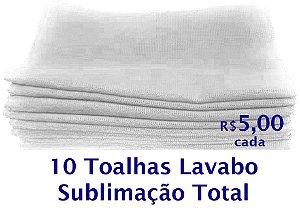 10 Toalhas de Lavabo para Sublimação Total Brancas   R$ 5,00 Cada