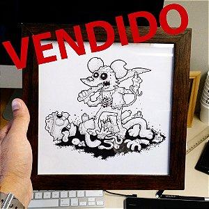 Arte original - Comichão e coçadinha zumbi
