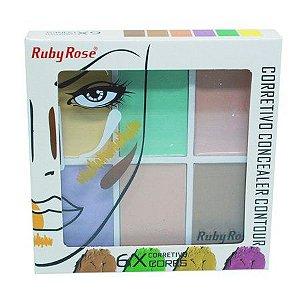 Paleta de Corretivo com 6 cores  Concealer Contour - Ruby Rose HB-8089
