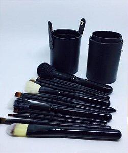 Kit 12 Pinceis Maquiagem + Case De Couro Pincel Profissional