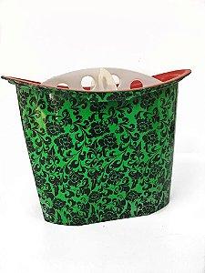 Porta Pincel Com Divisão- Verde Com Estampa Arabesco
