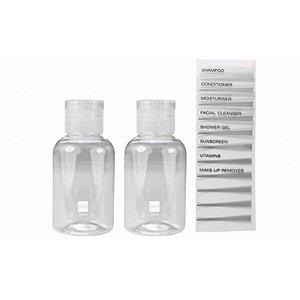 2 Frascos para Viagem 50 ml - Com etiquetas para fácil identificação - QVS