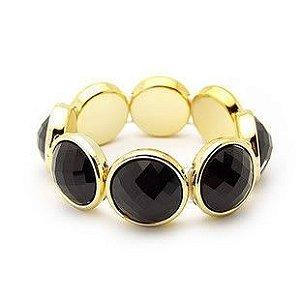Bracelete Dourado com pedras pretas Pulseira Dourada