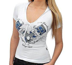 Camiseta Mulheres Sobre Rodas - Baby Look Capuz