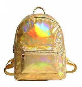 Mochila Holográfica Dourada