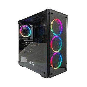 Gabinete Gamer Redragon Wheel Jack Vidro Temp Black Gc-606bk