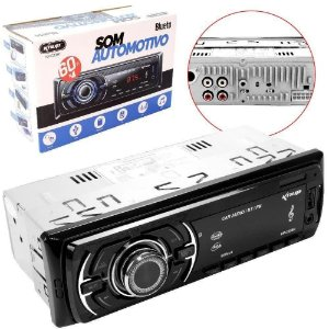 Auto Radio Automotivo Bluetooth Mp3 4x60w Usb Carro Fm