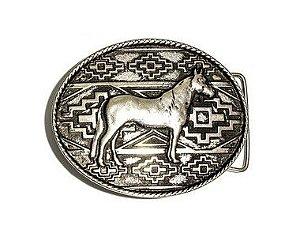 Fivela 78a Cavalo Pampa - Prata Velha/Ouro Velho - 40mm