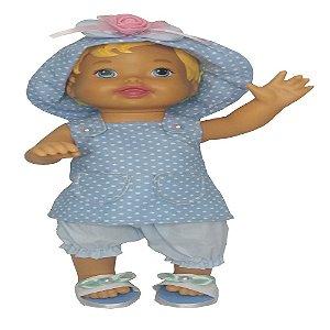 Roupa para Boneca - Salopete Azul - Veste Bonecas tipo Baby Alive - Cantinho da Boneca