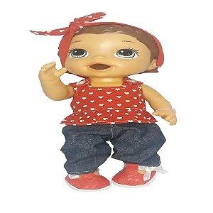 Roupa para Boneca - Conjunto Calça Jeans - Veste Bonecas tipo Baby Alive - Cantinho da Boneca
