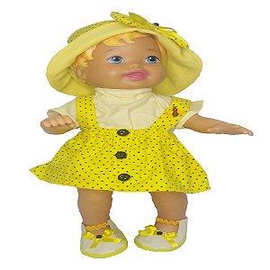 Roupa para Boneca - Salopete Amarelo - Veste Bonecas tipo Baby Alive - Cantinho da Boneca