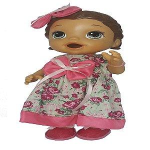 Roupa para Boneca - Vestido Floral - Veste Bonecas tipo Baby Alive - Cantinho da Boneca