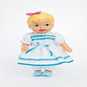 Roupa para Boneca - Vestido Branco e Azul - Veste Bonecas tipo Baby Alive - Cantinho da Boneca