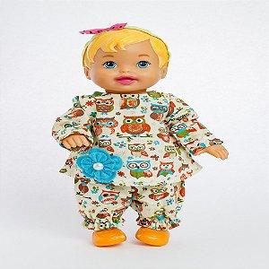 Roupa para Boneca - Conjunto Corujinha M/L - Veste Bonecas tipo Baby Alive - Cantinho da Boneca