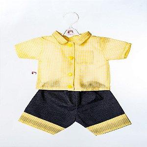 Roupa para Boneca - Conjunto Short e Camisa Xadrez - Cantinho da Boneca