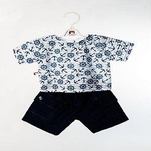 Roupa para Boneca - Conjunto Short e Camiseta Marítimo - Cantinho da Boneca