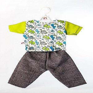 Roupa para Boneca - Conjunto Calça e Camiseta Dino - Cantinho da Boneca