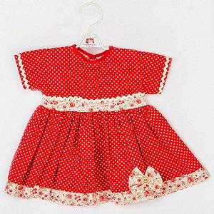 Roupa para Boneca - Vestido Poá Vermelho - Cantinho da Boneca